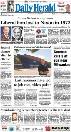 Daily Herald front page, Oct. 22, 2012