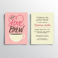 A bridal shower is grounds for celebration. Let love brew with this invitation that works perfectly with a brunch or coffee-themed shower.     Let Love Brew - Printable Bridal Shower Invitation by Idea Kitchen
