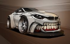 Check out my step-by-step work on crazy Liberty Walk BMW with SketchBook Pro. Bmw M4, Cool Car Drawings, Monster Car, Bmw Autos, Car Design Sketch, Car Sketch, Design Art, Car Illustration, Weird Cars