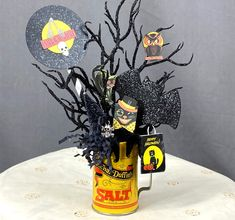 Vintage Halloween Decoration Altered Art Chenille Black Cat   Etsy