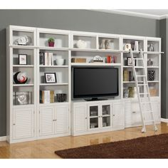 Have to have it. Parker House Boca Inset Library Wall Entertainment Center Bookcase - Cottage White -@hayneedle.com