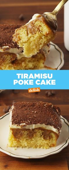 We are in AWE over how perfect this Tiramisu Poke Cake is. Get the recipe at Delish.com.