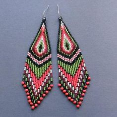 Long Colorful Tribal / Boho Seed Bead Earrings by Anabel27shop by amelia
