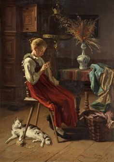 Here the Belgian painter creates a serene domestic scene, wherein a young woman knits peacefully at a table while her cat plays with her yarn rolled on the floor. 'A Girl Knitting' by Théodore Gérard Russell-Cotes Art Gallery & Museum She And Her Cat, Carl Spitzweg, Art Gallery, Knit Art, Mary Cassatt, Sewing Art, Art Uk, Vintage Knitting, Matisse