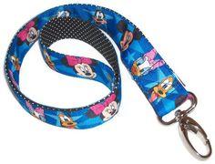 Lanyard - Mickey Mouse - Mickey and Friends - blue stars - Lanyard with push gate swivel hook - ribbon. $9.00, via Etsy.