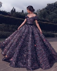 Bling Sequins Ball Gown Prom Dress,Off the Shoulder V Neck Gorgeous Formal Evening Dresses,Long Party on Storenvy Sequin Prom Dresses, Prom Dresses Long With Sleeves, Beautiful Prom Dresses, Pretty Dresses, Beautiful Shoes, Black Quinceanera Dresses, Sequin Gown, Long Party Gowns, Ball Gowns Prom