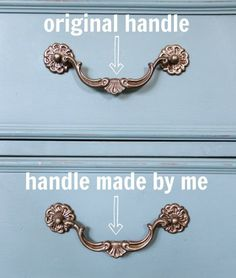 DIY: How to Make Hardware - using clay. This is a inexpensive fix when you're missing a piece of furniture hardware - via Artsy Chicks Rule Do It Yourself Furniture, Furniture Repair, Do It Yourself Home, Furniture Projects, Furniture Makeover, Diy Furniture, Furniture Refinishing, Antique Furniture, Furniture Hardware