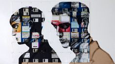 Portrait created on obsolete floppy disks by Nick Gentry