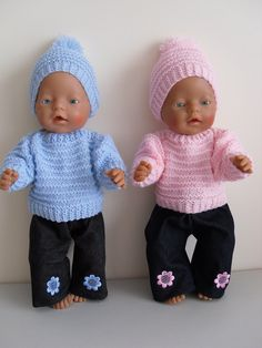 "Baby Born Dolls Clothes. Baby Blue Jumper and Beanie with Pom Pom. To fit 17"" or Similar Doll. Baby Pink Jumper and Beanie with Pom Pom. Gorgeous Hand Knitted. Dark Blue Jeans. 