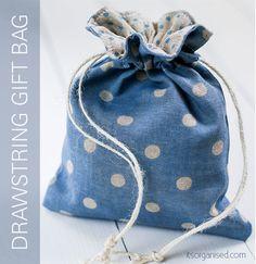 Tutorial : Drawstring Gift Bag Free Sewing Pattern