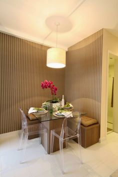 An idea if you don't have so much space for a dinner room. Mid-century Interior, Interior Design Living Room, Dinner Room, Dinner Table, Dining Nook, Small Dining, Architectural Digest, Sweet Home, Bedroom Decor
