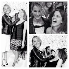 Jennifer Lawrence and Emma Watson having fun at the Dior Fashion Show