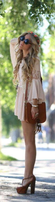 Sheinside Nude Lace Detail Boho Dress