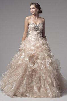 KCW1539 Oyster Lace Organza Ballgown Wedding Dress by Kari Chang Eternal