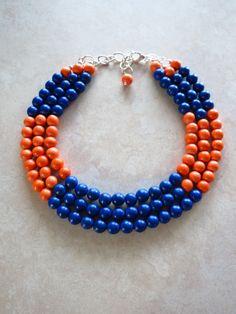COLOR BLOCK Wood Necklace - Dark Blue & Orange Necklace - Anthropologie Inspired - Florida Gators Colors
