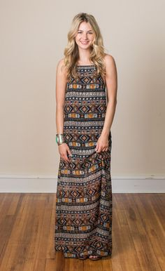Moroccan Nights Maxi Dress    The perfect summer maxi for all your day + night events with tribal pattern + a little sparkle.
