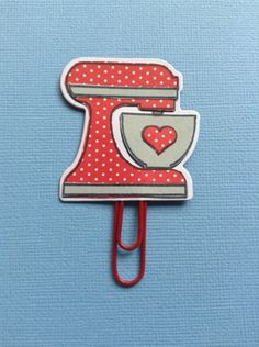 Pocket letter goodies. Paper pieced mixer from Sizzix Baked With Love stamp,and dies set.