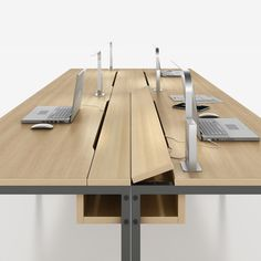 Office Interiors, Office Design: Fold up power strip on Office Table via Office Interior Design, Office Interiors, Office Table Design, Office Furniture Design, Modern Office Table, Office Designs, Corporate Interiors, Design Table, Nachhaltiges Design