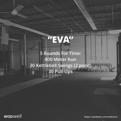 """Eva"" WOD - 5 Rounds For Time: 800 Meter Run"