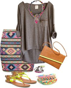 """""""Challenge Item - Grey Top - Laidback Aztec"""" by trinavokes on Polyvore"""