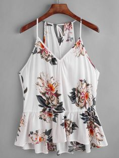 size small Shop Flower Print Keyhole Self Tie Back Peplum Cami Top online. SheIn offers Flower Print Keyhole Self Tie Back Peplum Cami Top & more to fit your fashionable needs. Lace Halter Top, Sleeveless Crop Top, Cami Tops, Peplum Tops, Casual Skirt Outfits, Stylish Outfits, Striped Crop Top, Woman Outfits, Beach Wear For Women Outfits