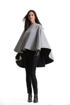 Charlotte Black and White Quilted Cape by PerlaeCouture on Etsy