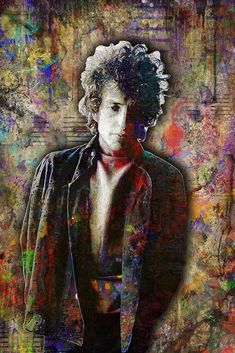 Bob Dylan Poster, Bob Dylan Portrait Gift, Bob Dylan Colorful Layered                       – McQDesign