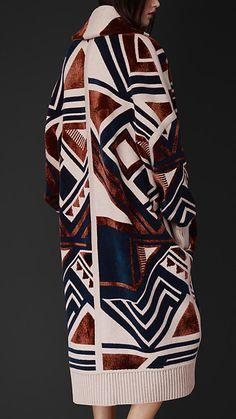 Manteau plaid en maille géométrique inspi Amérindienne, Burberry