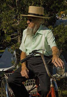 Amish man on his bike