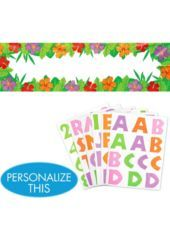 """Decorations: Note: Possible signage [directional] Personalized Hibiscus Banner - Party City  $9.99 w/7 sheets peel & stick letters & numbers 65"""" L x 20"""" H"""