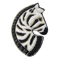 Forest Of Chintz Zebra Brooch featuring polyvore women's fashion jewelry brooches beads jewellery pearl jewelry beading jewelry pearl broach pearl brooch