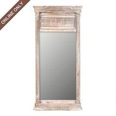 Antiqued Wood Izzie Mirror at Kirkland s over bed $80