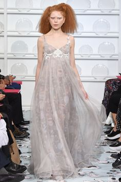 Lovely Taupe Spaghetti Strap Empire Waist Evening Gown - Schiaparelli Spring 2016 Couture Fashion Show