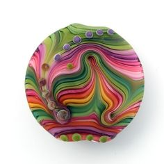 Michal S- Olive and pink Feather - Lampwork lentil focal bead (1)FREE WORLDWIDE SHIPPING