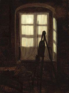 Carl Gustav Carus (German, 1789-1869). Studio in Moonlight, 1826. Staatliche Kunsthalle Karlsruhee, Germany