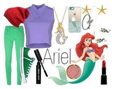 """Ariel~ DisneyBound"" by basic-disney ❤ liked on Polyvore featuring Silvian Heach, M Missoni, Bobbi Brown Cosmetics, Converse, Kate Spade, Milani, Giorgio Armani, Casetify and Disney"