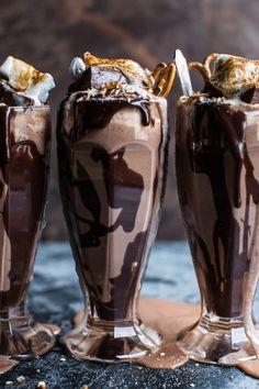 Salted Pretzel Nutella Fudge Milkshake with Malted Milk Whipped Cream. (via http://www.halfbakedharvest.com)