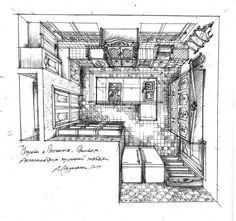 Drawings interiors sketches. on Behance