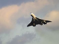 Concorde landing at London Heathrow Airport.