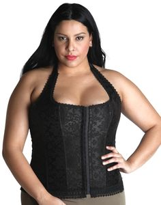 Halter black jacquard corset