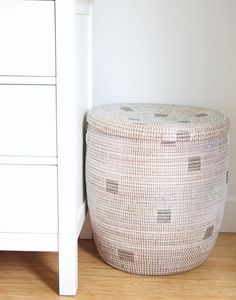 - Description - Artisan - Hang Tag Squirrel away unsightly piles of dirty clothes with this chic hand-woven hamper. * Approximately tall x deep * As with all handmade items, slight variations Basket Weaving, Hand Weaving, Large Storage Baskets, Woven Baskets, Laundry Hamper, Laundry Room, House Rooms, Bedroom Decor, Bedroom Ideas