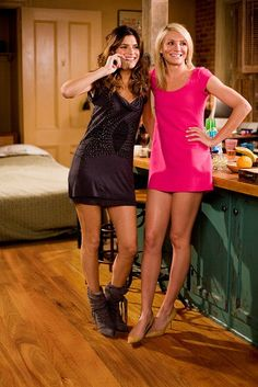 """Look #1: and so begins my series of Cameron's """"What Happens in Vegas"""" outfits that I MUST replicate. what's not to love about this hott pink  mini dress!?"""