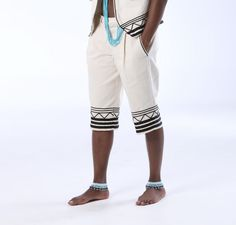 Mens umbhaco shorts in Xhosa, African style, with detailing in black shoelace braid. Can be made in many colours at Wild Coast Trading Shoelace Braid, Xhosa Attire, Hair Wrap Scarf, Cotton Twill Fabric, Trading Company, Traditional Wedding, African Fashion, Birthday Ideas, Braids