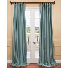 Blue Agave Yarn Dyed Faux Dupioni Silk Curtain Panel - Overstock™ Shopping - Great Deals on EFF Curtains