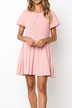 Apr 2020 - Casual Round Collar Plain Loose Shift Dress – linenwe cute dresses cute dress ideas cute christmas dresses Simple Short Dresses, Simple Elegant Dresses, Cute Formal Dresses, Simple Summer Dresses, Casual Dresses For Women, Sexy Dresses, Pretty Dresses, Shift Dresses, Mini Dresses