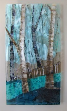 Trio of Trees: Fused Glass Art-Glass Panel Sculpture by Alice Benvie Gebhart♥🌸♥ Glass Wall Art, Fused Glass Art, Stained Glass Art, Raku Pottery, Mosaic Art, Mosaic Glass, Glass Fusion Ideas, Glass Design, Glass Panels