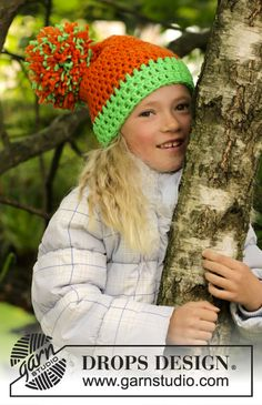 New free pattern! #Crochet hat with large pompom in #DROPSPeak. Share your projects with us using #DROPSBeanie!