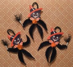 Black Halloween cat chenille ornaments.