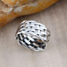 Men's Sterling Silver Braided Band Ring