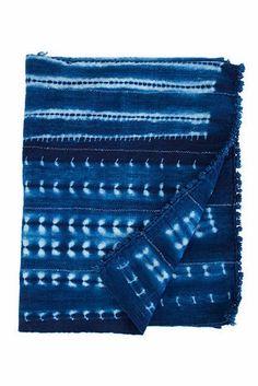 Vintage African Indigo Throw Blanket